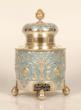 Faberge silver, parcel-gilt and enamel tea caddy, Moscow, 1908-1917. Courtesy of John Atzbach.