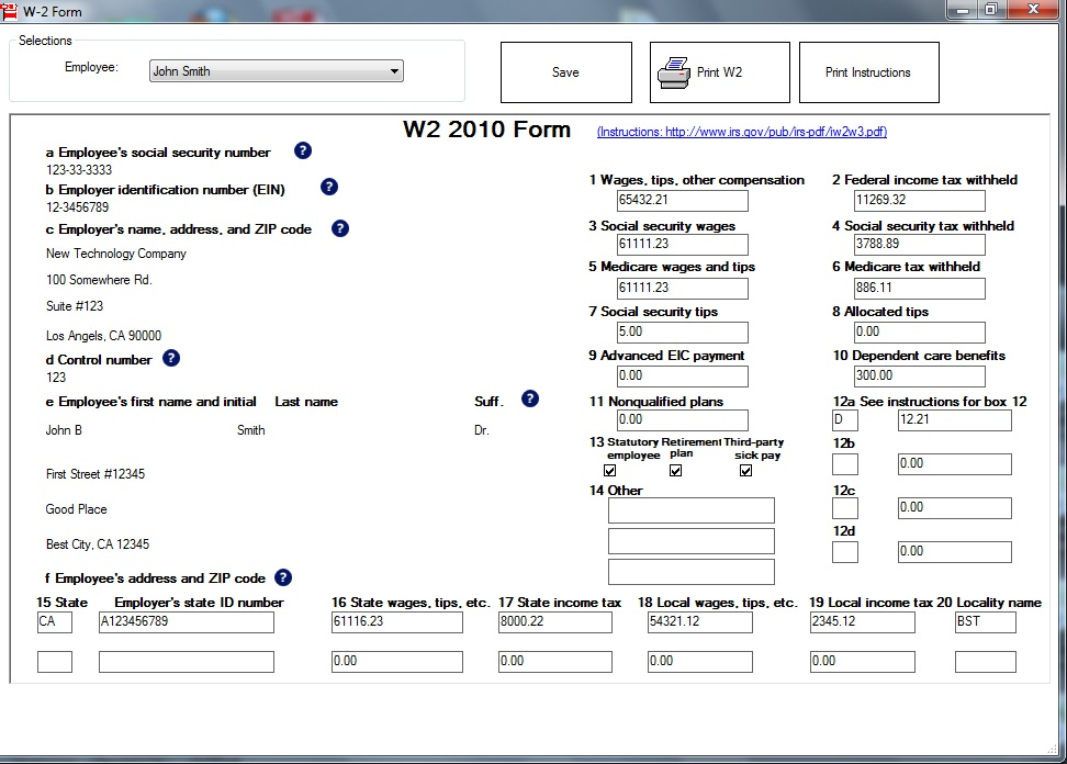 Sample W-2 Form Form W2 Preparing with ezW2 from halfpricesoft.com