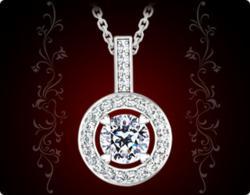 Ti Amo by Amoro Halo Diamond Pendant Featuring A Pristine Hearts Diamond