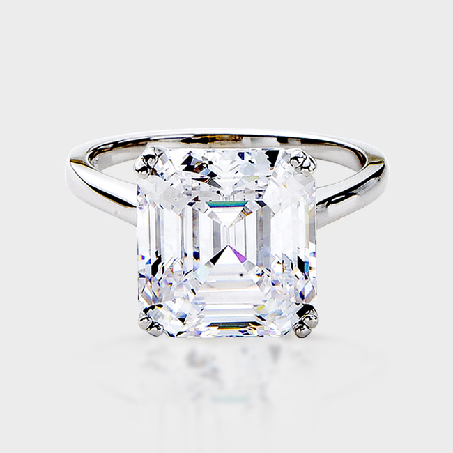 9.0 Carat Asscher Inspired Cubic Zirconia Ring In A 14K White Gold  Solitaire Setting. Cubic Zirconia Wedding Band