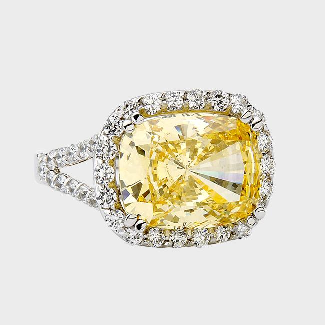 60 carat oval cushion cut cz simulated yellow diamond ring - High Quality Cubic Zirconia Wedding Rings