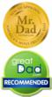 MrDad Seal of approval and GreatDad Recommends seal