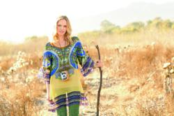 cabi marakesh caftan on woman hiker