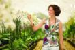 cabi bouquet tank on woman near flowers