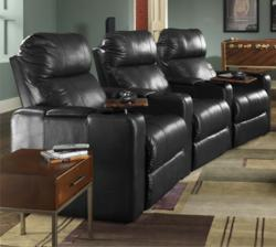 Berkline 12003 Reno Home theater Seats with Power Recline and Black Leather