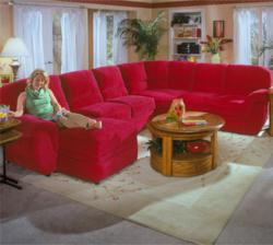 Berkline 270 Reclining Sectional in red leather