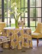 A garden room setting with fabrics and custom furnishings from Calico Corners - Calico Home features the warm tones of Honey Moon, named Next Color for 2011 by the Color marketing Group.  Honey Monn's