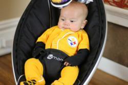 A little Steelers fan enjoys the mamaRoo