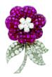 Pavot flower pin set with mystery set ruby petals, round diamond pistil center, three pave set leaves and stem with round and baguette diamonds, mounted in platinum and 18k gold. Courtesy of J.S. Fearnley.