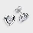 0.33 carat each brilliant round cubic zirconia earrings in a heart shape semi bezel setting