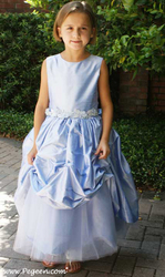 The Princess Diana flower girl dress with layering and bubble skirt of silk and tulle, by Pegeen.com