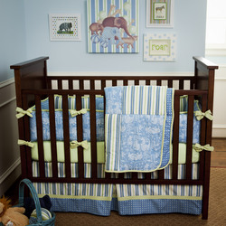 Blue and Green Circus Toile, one of Carousel Designs' new crib bedding collections for 2011.