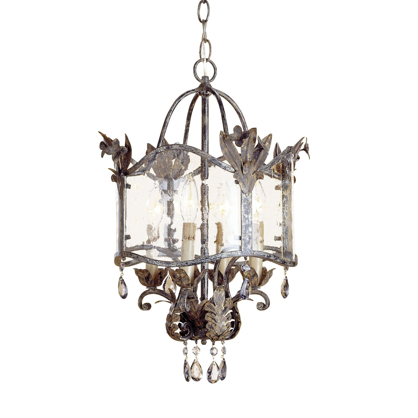 The wrought iron, seeded glass, and crystal 9357 Zara Pendant from Currey u0026  Company is available in several different