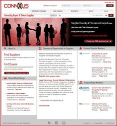 Home page of www.connxus.com, a new New online service that connects corporate buyers with small businesses, minority-owned businesses and woman-owned businesses.