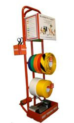 Floor marking cart with floor tape and floor marking supplies