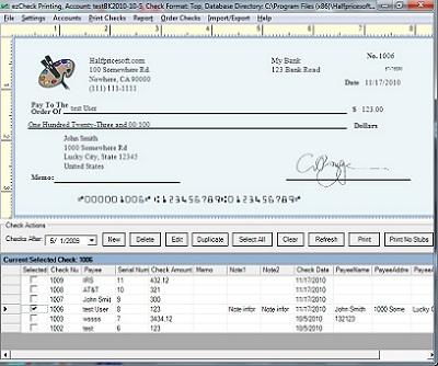 sample business checks