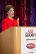 Former first lady Laura W. Bush addressed a sold-out crowd of nearly 600 at the Advertising Specialty Institute's trade show in Dallas Friday. Here, she shows off her good humor with a favorite promot