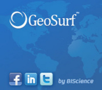 GeoSurf on Facebook,  LinkedIn, and Twitter