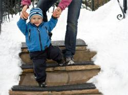 Heated stair tread mats melt snow & ice from residential outdoor steps for safer footing in winter.