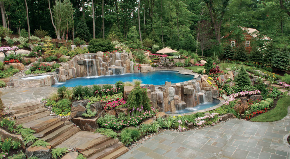 New jersey swimming pool and landscaping company profiled for Landscaping ideas for pool areas
