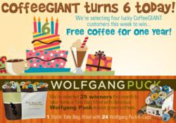 CoffeeGIANT rewards customers with a chance to win Free Coffee for a Full Year!