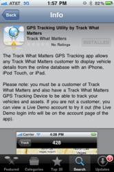Screenshot of the Track What Matters iPhone App for easier mobile fleet management