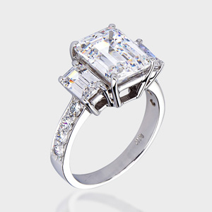 This Gorgeous High Quality Cubic Zirconia Ring Features A 3 0 Carat Clic Emerald Cut Center With 50 Stone On Each Side Accented