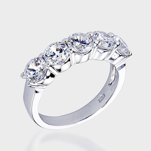 this high quality cubic zirconia wedding band features 5 brilliant round stones in a solid 14k white gold setting - High Quality Cubic Zirconia Wedding Rings