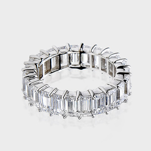 this high quality cubic zirconia ring features emerald cut stones in a full circle of a shared prong setting cubic zirconia engagement ring - High Quality Cubic Zirconia Wedding Rings