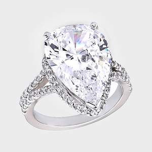 this high quality cubic zirconia ring features a 100 carat pear shape surrounded by round stones in a uniquely glamorous design cubic zirconia engagement - High Quality Cubic Zirconia Wedding Rings