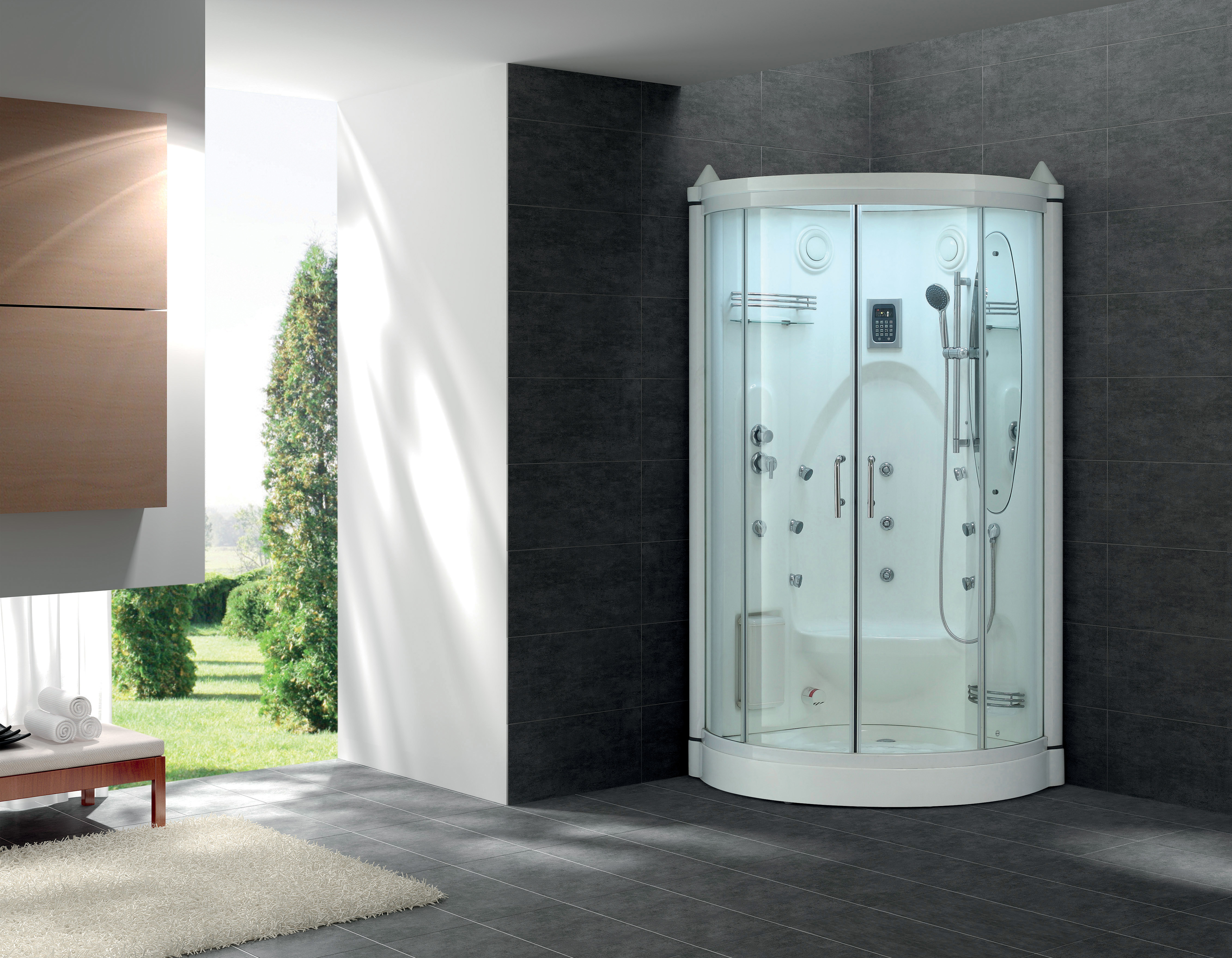 Glass Shower With Bench