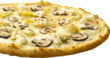 The Casablanca: Delicious housemade roasted garlic sauce, mozzarella, ricotta, mushrooms, artichoke hearts and parmesan