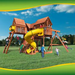 Playground Equipment connected to create one Big Swing Set