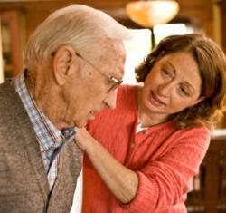 Caregiver with frail senior