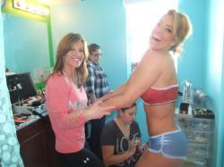 """Super Fitness Model JNL & """"the Diet Diva"""" Unni Greene at JNL's Fitness Model Factory, getting Body Painted for 2012 Calendar"""