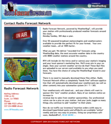 Radio Forecast Network's Emails include feature announcements and a coverage map.