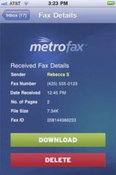 MetroFax iPhone application.
