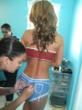 Fitness Game Changer JNL Getting Body Painted at her Fitness Model Factory for 2012 Calendar