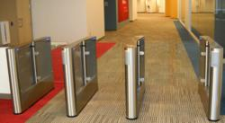 Fastlane GlassGate optical turnstile for lobby security