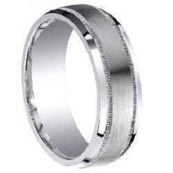 designer mens silver wedding ringdesigner silver decorative edge wedding ring with satin finish and polished beveled edges 7mm - Mens Designer Wedding Rings