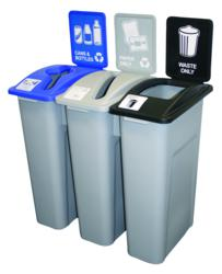 recycling signage for trash receptacles and recycling containers