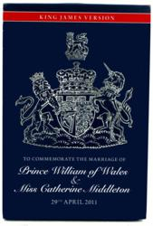 This commemorative Bible marks the 400th anniversary of the first publishing of the King James Version of the Holy Bible and the April 29, 2011 wedding of Prince William and Kate Middleton. It is available at www.theukgiftcompany.com.