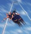 The Royal Rush Skycoaster at the Royal Gorge Bridge and Park is a free-fall tower sweeping riders at a speed of 50 miles per hour, to hang momentarily over the Arkansas River at an elevation of 1,200 feet.