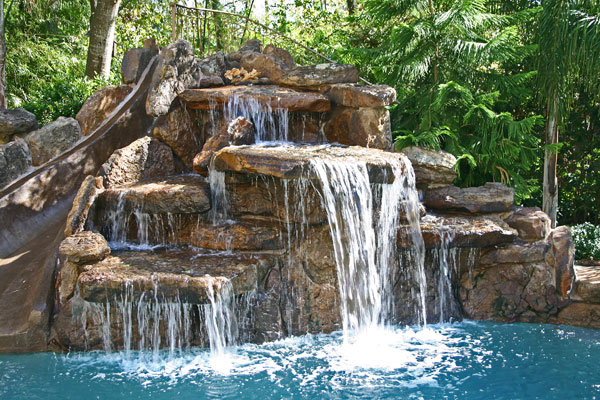 cool pools with waterfalls and slides built in swimming pool decor