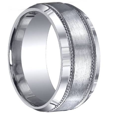 with a satin finished center a decorative trim border and handsome beveled edges this unique silver ring has it all mens cobalt chrome rings