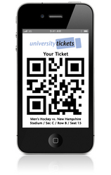 UniversityTickets Mobile Phone Ticket on an Apple iPhone 4