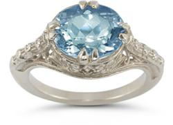 Vintage Sterling Silver and Genuine Blue Topaz Ring