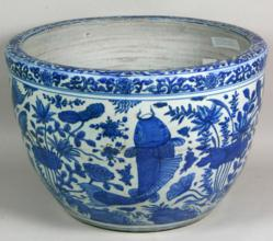 Massive Blue and White Porcelain Fish Tank, China, Ming Dynasty