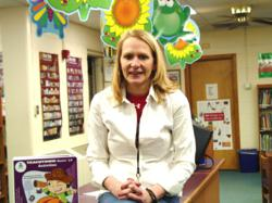 Teacher Rebecca Byers in her schools library media center