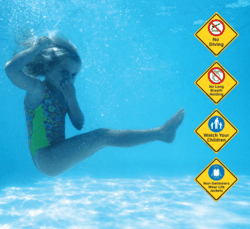 No Diving, No Long Breath Holding, Watch your children, Wear Life Jackets, Clarion Water Safety, Pool Safety Signs